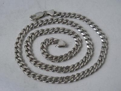 Solid Sterling Silver Flat Curb Link Chain/ L 44 cm/ 25 g