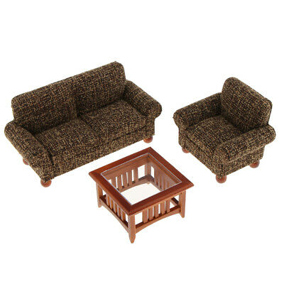 1/12 Dollhouse Miniature Furniture Living Room Couch Sofa Table Set Black