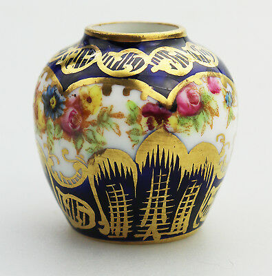 Antique English Porcelain Crown Staffordshire Miniature Vase C.1900