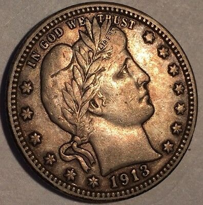1913-D BARBER QUARTER - 90% SILVER COIN - only 1.4 million minted