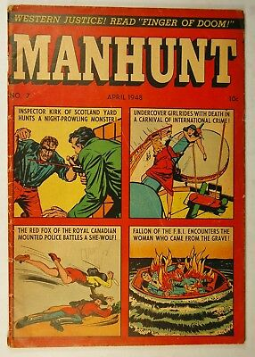 Manhunt #7 (April 1948, Magazine Enter.) Undercover Girl Rides with Death!