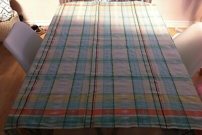 """Vintage White And Green Checked Seersucker Cotton Tablecloth ~ 47"""" X 46"""""""