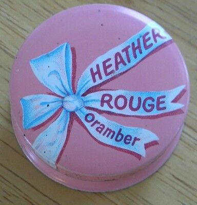 Vintage Whitehall Laboratories Heather Rouge Oramber Pink Makeup Tin Collectible
