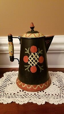 ANTIQUE TOLE WARE 8 Pint PITCHER - HAND DECORATED Rochester