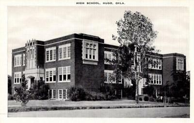 Hugo, Oklahoma - A look at the High School - in the 1940s - Vintage Postcard