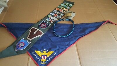 Boy Scout BSA sash with merit badges belt with buckle Eagle neckerchief and cord