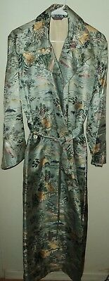 Vintage Asian Scene Oriental Belted Long Trench Coat Duster Art to Wear M  RARE