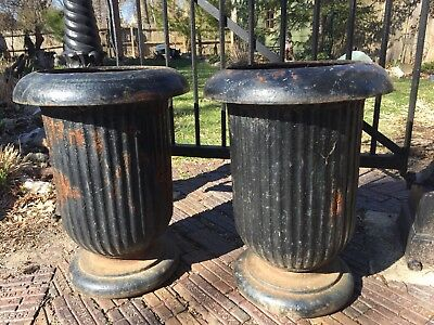Pair Of Rare Vintage Antique Old Cast Iron Planters