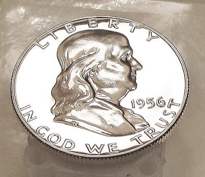 1956   Franklin   Proof   90%   Silver  >Coin  as  Pictured<    #714  61