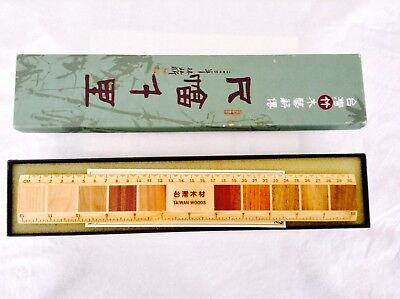 Vintage Chinese Japanese Ruler Taiwan Woods with box Rare Unique
