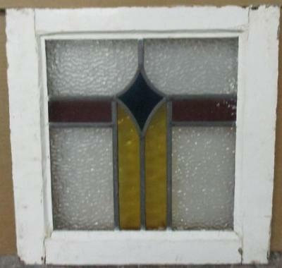 "OLD ENGLISH LEADED STAINED GLASS WINDOW Nice Geometric Pillar 17"" x 17"""