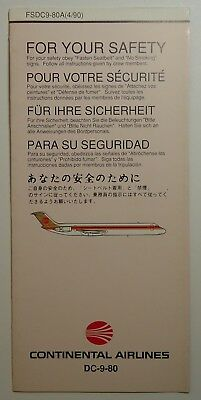 Continental Airlines    -   DC-9      Safety Card     1989    unused