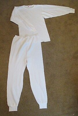 Hanes Her Way Size XL 42-44 White 2pc Thermal Long johns Underwear Top/Leggings