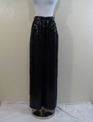 Vintage Made In India Black Silk And All Sequined Wide Leg Evening Pants Sz 8
