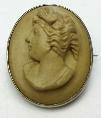 Antique Victorian Solid Silver Carved Lava Cameo Relief Design Ladies Brooch