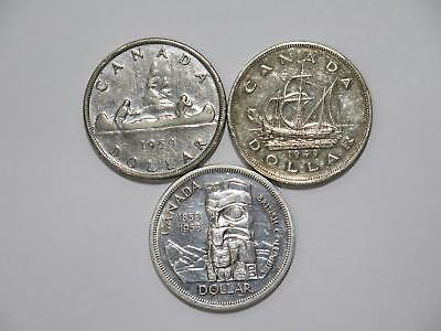 Canada 1949 1958 1959 $1 Dollar Commemorative Silver World Coin Collection Lot