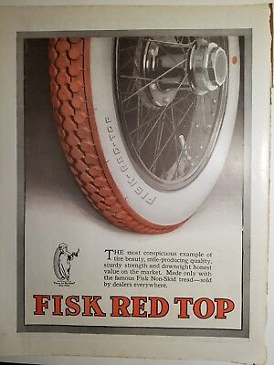 1918 Fisk red top non-skid tread Tire vintage Automotive ad