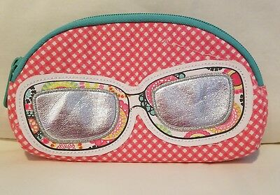 Thirty One 31 Coral Mini Gingham Soft Eyeglass Sunglasses Case
