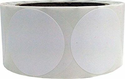 White Circle Dot Stickers, 2 Inches Round, 500 Labels on a Roll