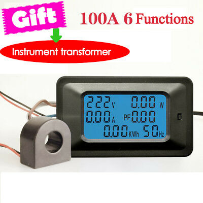 LCD Digital voltmeter AC Power Meter Watt Meter Large LCD 22000W 1pc 90*55*28mm