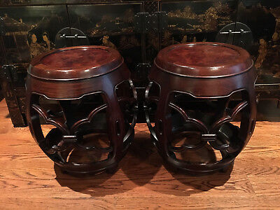 A Pair Chinese Antique Carved Rosewood Top, Hongmu Drum Stools.