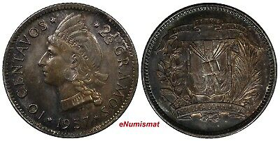 Dominican Republic Silver 1937 10 Centavos RAINBOW TONED BETTER DATE KM#19