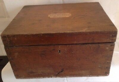 Antique Wooden Box With Brass Handles