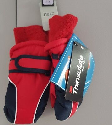 6-12 Months Thinsulate Gloves.Unisex.NEXT.Red and Navy. BNWT. Velcro fastening.