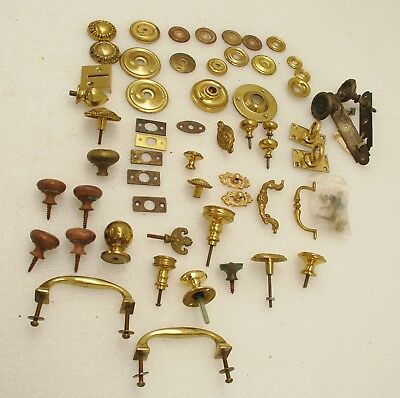 Job lot Brass knobs and handles - various ages, some vintage/antique