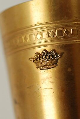 Gold plated goblet with applied crown crest -unusual!