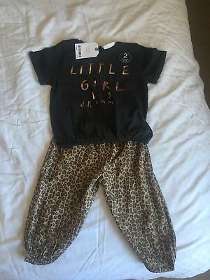 Bnwt Next Leopard Animal Top Bottoms 12-18 Baby Girls Set Outfit Cute Big Dreams