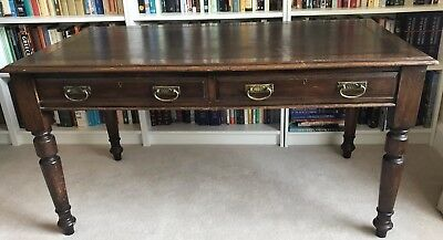 Antique Library writing table / Desk Leather Top with two drawers