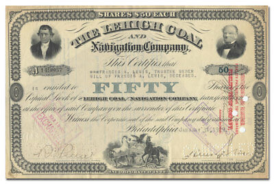 Lehigh Coal and Navigation Company Stock Certificate (1929)