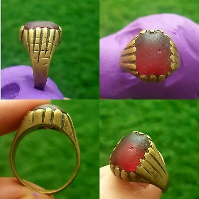Medieval silvered Bronze Ring with stone insert