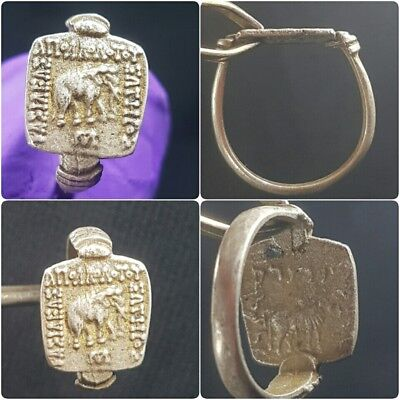 Rare ancient roman coin with Elephant lovely vintage silver ring