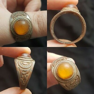 Medieval brass bronze decorated ring with stone insert