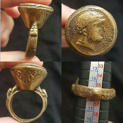 Old Rare stunning King Face Coin Bronze Womderful ring