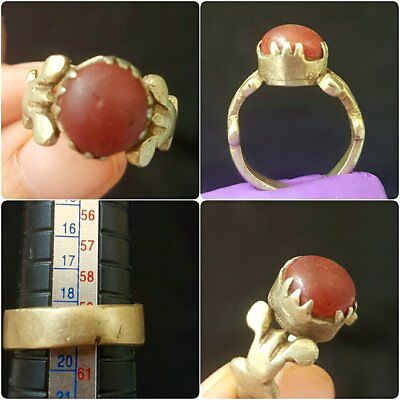 Lovely medieval brass Ring with stone insert