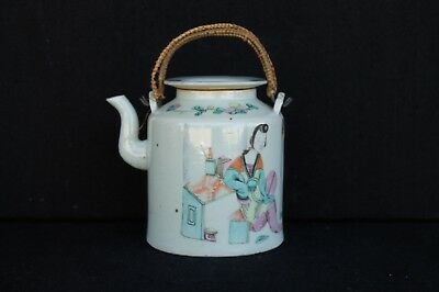 Big Famille rose teapot with figures ca. 1900 Chinese export