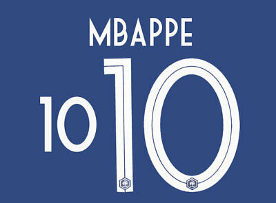 Mbappe 10 - 18 / 19 White France World Cup Home Name Set = Player Size