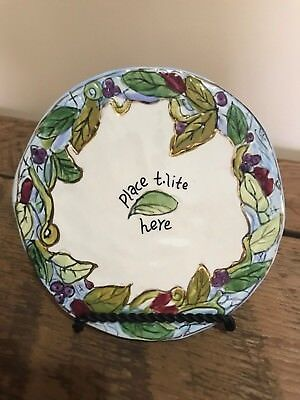 2003 Blue Sky Clayworks HandPainted Trivet Floral-Leaves-Berry Gold Gilt Accent
