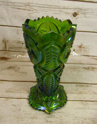 Vintage Green Iridescent Carnival Glass Vase With Star Leaf