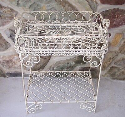 vintage metal twisted wire french chippy paint serving cart stand tray
