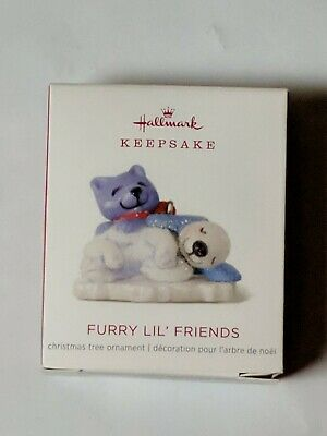 Hallmark Keepsake 2018 Mini Furry Lil' Friends Dog and Cat Ornament, 0.75""