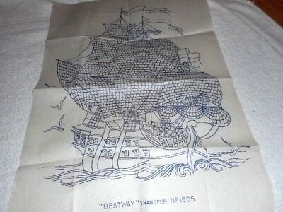 Large Vintage Embroidery Iron on Transfer - Bestway No.1605 - Galleon / Ship