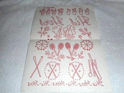 Vintage Embroidery Iron on Transfer - 'His and Hers' - Sporting Theme