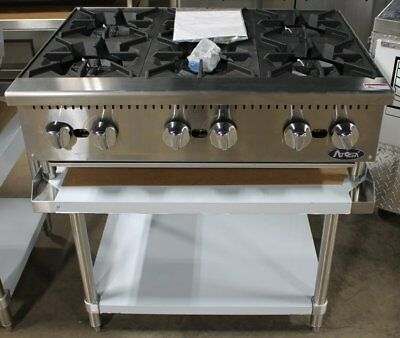 """36"""" Hd 6 Burner Heavy Duty Commercial Counter Top Gas Hot Plate Gas W Table Pkg"""