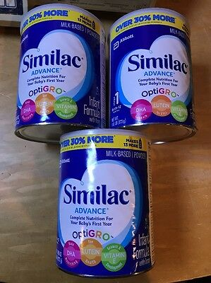 Similac Advance Infant Formula With Iron Powder Stage 1 - 1.93lb - 3 Cans