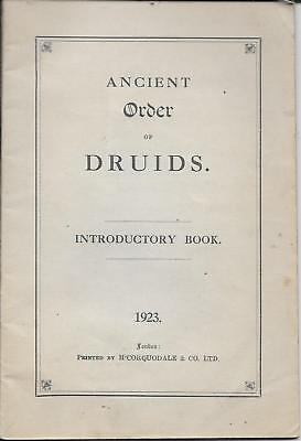 ANCIENT ORDER OF DRUIDS INTRODUCTORY BOOK 1923 - Pride of the Medway Lodge