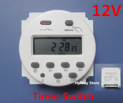 16A DC 12V Digital LCD Display  Programmable Time Counter Timer Switch Relay OV
